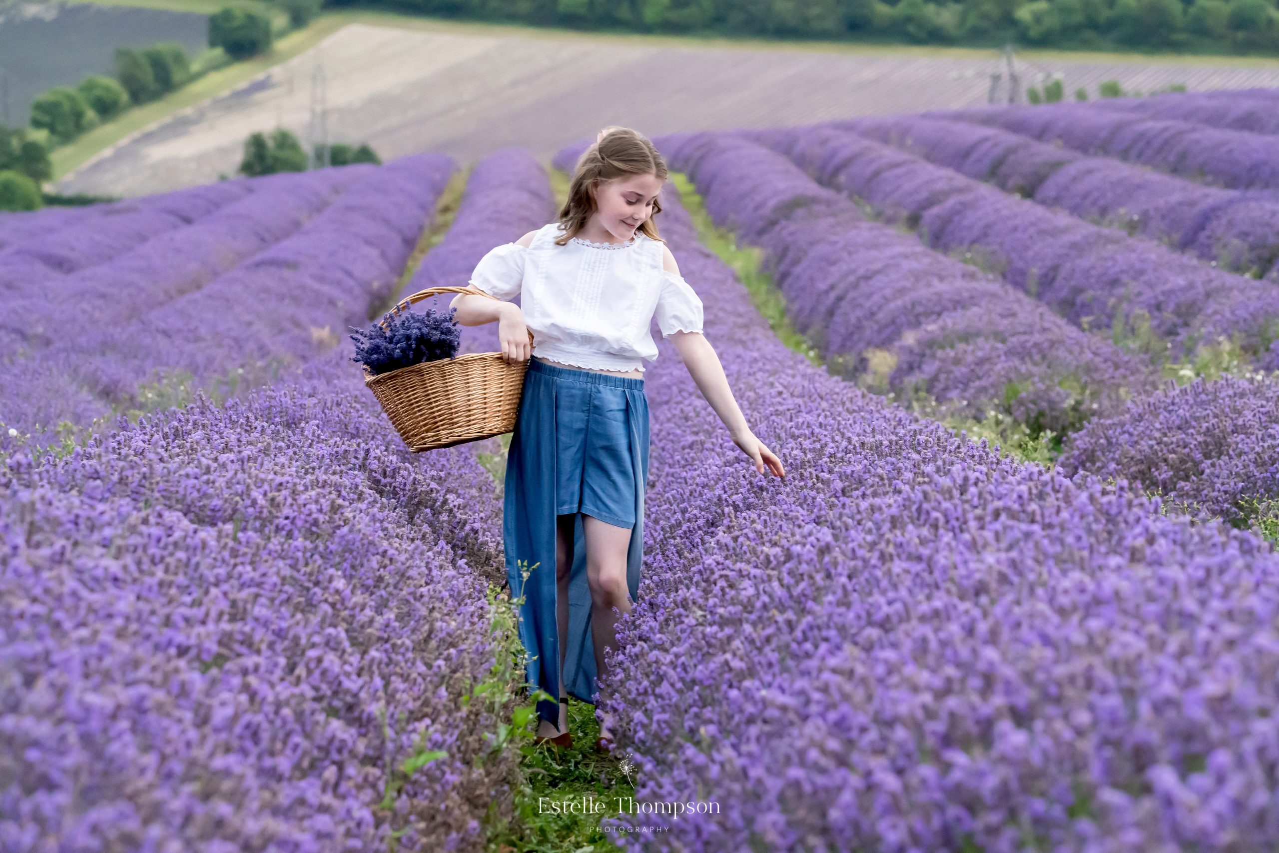 A young lady walking through the lavender field in kent