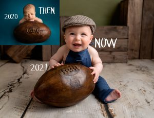 Newborn baby photo and same baby holding the same ball for his sitter photoshoot in sevenoaks